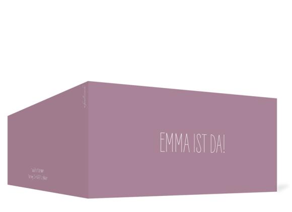 Geburtskarte (Klappkarte DIN Lang, ein Foto), Motiv: Emma/Emil, Aussenansicht, Farbvariante: lila