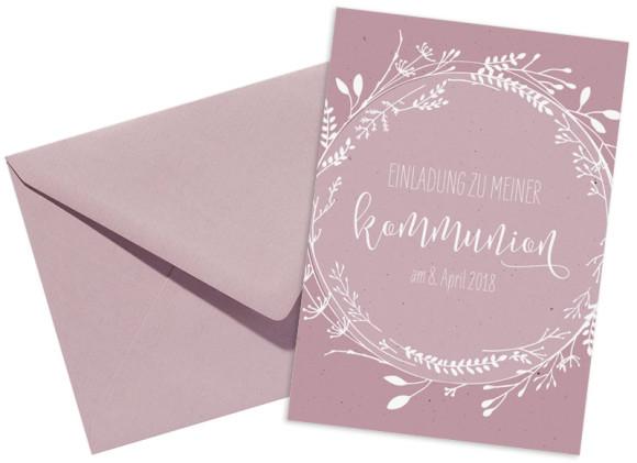 Kommunionseinladung (Postkarte), Motiv: Blumenkranz, mit Briefhülle, Farbvariante: altrosa