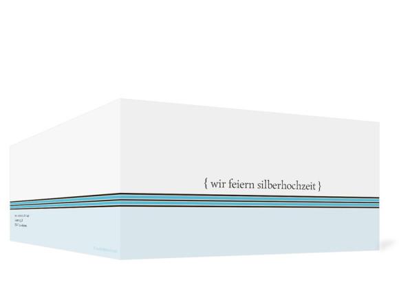 Außenansicht, Einladungs-Klappkarte zur Silbernen Hochzeit (Format DIN Lang), Motiv Cardiff, Farbversion: blau