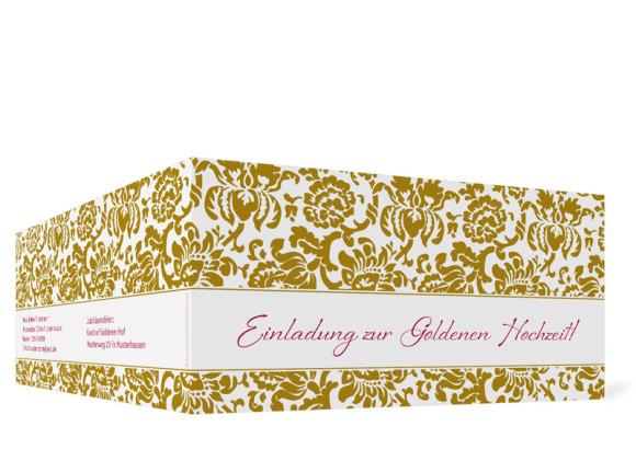 Außenansicht, Einladungs-Klappkarte zur Goldenen Hochzeit (Format DIN Lang), Motiv Barcelona, Farbversion: beige