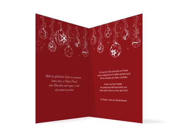 Innenansicht, Firmen-Weihnachtskarte Weihnachtskugeln, Farbversion: rot