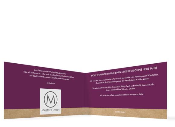 Firmen-Weihnachtskarte Waldtiere (Klappkarte), Innenansicht in der Farbversion: brombeer