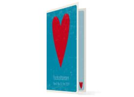 Hochzeitsmenükarten Vintage Heart (Klappkarte) Blau