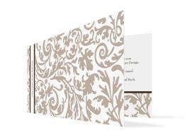 Hochzeitseinladung Rokko Weiß (Klappkarte, ohne Foto)