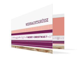 Firmen-Weihnachtskarte Weihnachtsband Brombeer/Apricot