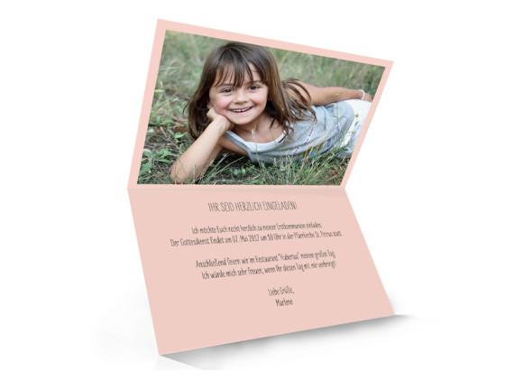 Einladungskarten zur Kommunion, Motiv Lucky Stripes, Innenansicht, Farbversion:apricot