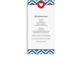 Hochzeitsmenükarten Hamptons Heart Blau/Rot