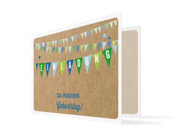 Geburtstagseinladung Wimpel (Klappkarte, mit Foto)