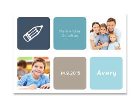 Einladung zur Einschulung Schulbeginn (Postkarte) Dunkelblau