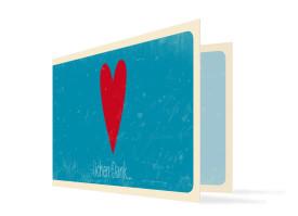 Hochzeitsdanksagung Vintage Heart (Klappkarte, mit Foto) Blau