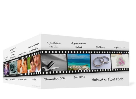 Aussenansicht, Einladungs-Klappkarte zur Hochzeit (Format DIN Lang), Motiv Hollywood, Farbversion: weiss