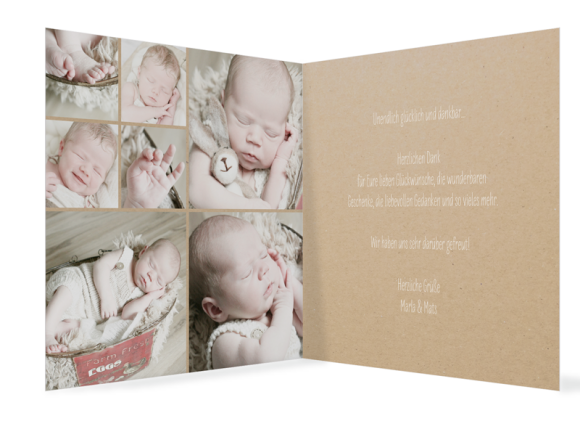 Geburtskarte (quadratische Klappkarte, 7 Fotos), Motiv: Nahla/Nathan, Innenansicht, Farbvariante: weiss