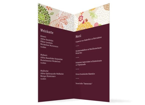Innenansicht, Menükarte zur Hochzeit (Klappkarte), Motiv Lissabon, Farbversion: bordeaux