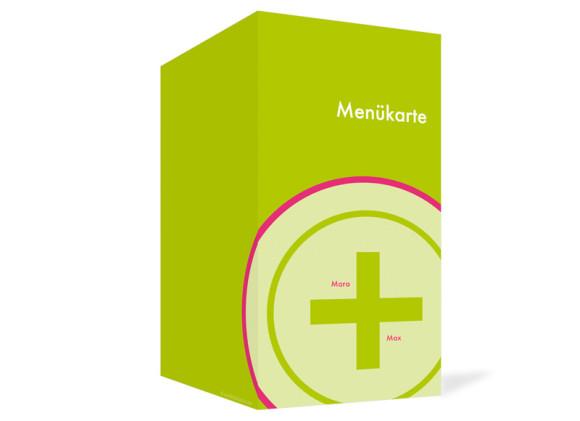 Außenansicht, Menükarte zur Hochzeit (Klappkarte), Motiv A+B, Farbversion: gruen-pink