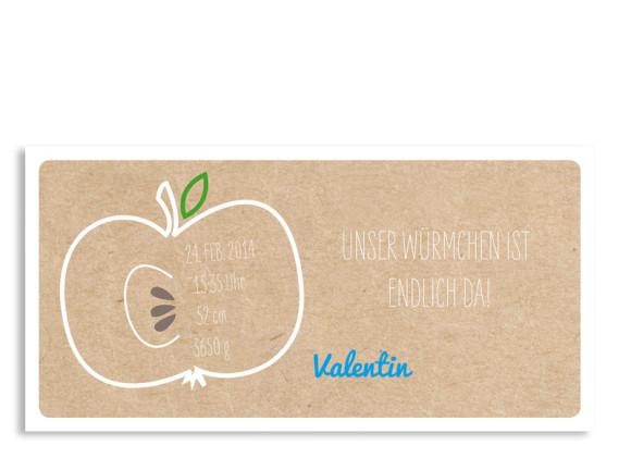 Geburtskarte Valerie/Valentin (Postkarte DL, mit Foto)