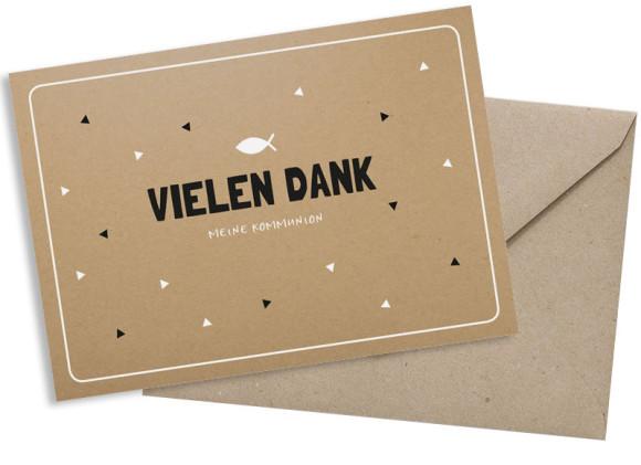 Kommunionsdanksagung (Postkarte mit Foto), Motiv: Farbenfroh, mit Briefhülle, Farbvariante: schwarz