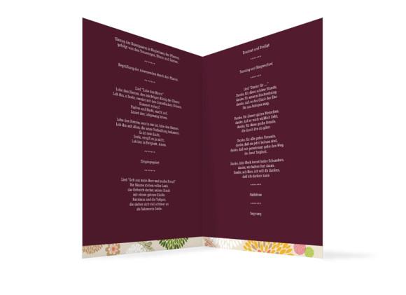 Innenansicht, Klappkarte zur Hochzeit (Kirchenheft), Motiv Lissabon, Farbversion: bordeaux