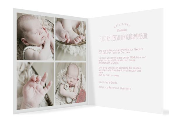 Dankeskarte Geburt (Klappkarte quadratisch, vier Fotos), Motiv: Carmen/Campino, Innenansicht, Farbvariante: altrosa