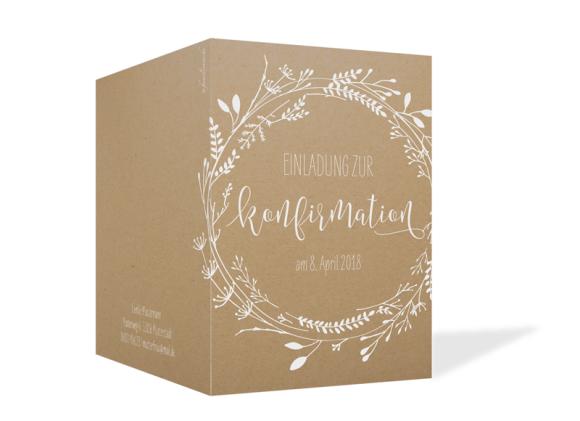 Konfirmationeinladung (Klappkarte A6), Motiv: Blumenkranz Natural, Aussenansicht, Farbvariante: weiss