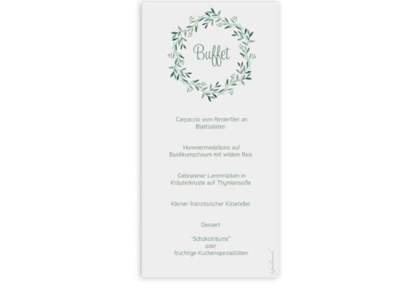 Hochzeitsmenükarten , Motiv: Blätterkranz, Rückseite, Farbvariante: Grün