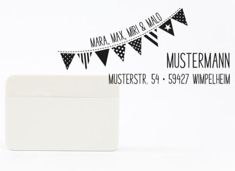 """Adressstempel """"Wimpel"""" personalisiert rechteckig, 61 x 28 mm (Selbstfärber)"""