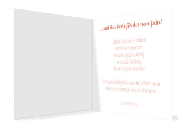 Firmen-Weihnachtskarte Pure Deer (Klappkarte, quad.), Innenansicht in der Farbvariante: apricot