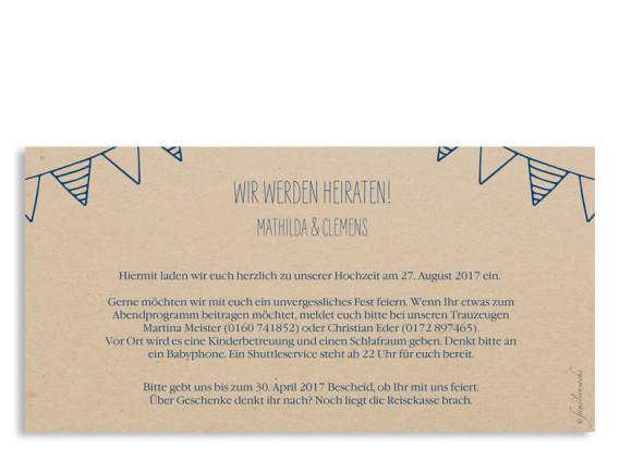 Einladungskarten zur Hochzeit Timeline Cute, Rückseite in Dunkelblau