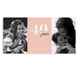 """Einladungskarte zum 40. Geburtstag """"Zeitreise"""" apricot"""