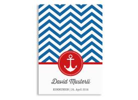 Einladungskarten zur Kommunion Hamptons Anchor Blau/Rot