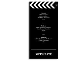 Menükarten Hochzeit Hollywood (DIN Lang-Karte) Schwarz