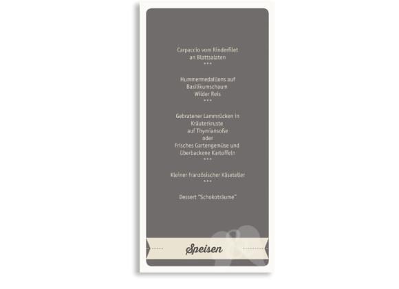 Hochzeitsmenükarten Flugticket, Rückseite der Farbversion: beige