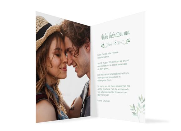 Einladungskarte Hochzeit (Klappkarte C6), Motiv: Blätterkranz, Innenansicht, Farbvariante: gruen