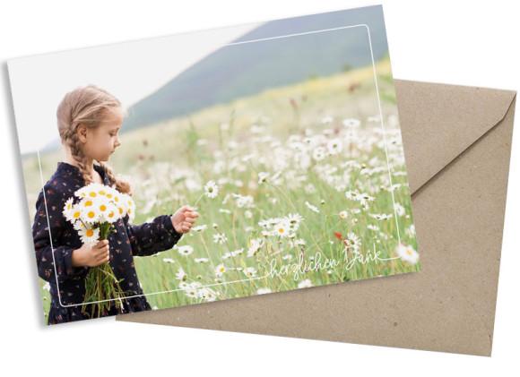 Kommunionsdanksagung (Schlichte Postkarte mit Foto), Motiv: Kraftvoll, mit Briefhülle, Farbvariante: weiss