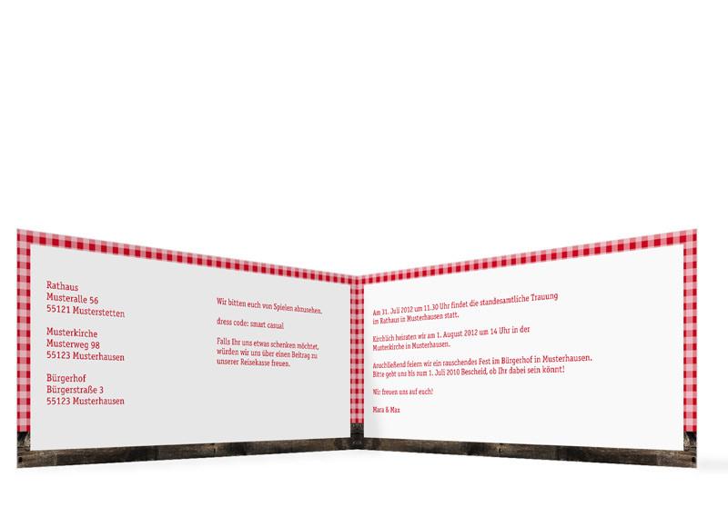 Hochzeitseinladung Alpenglühen (Klappkarte, Mit Fotos) · Innenansicht,  Klappkarte Zur Hochzeit (Format DIN Lang), Motiv Alpenglühen, Farbversion:  ...