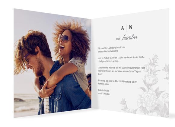 Einladungskarte Hochzeit (quadr. Klappkarte, ein Foto), Motiv: Bukarest, Innenansicht, Farbvariante: anthrazit