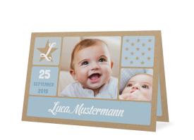 """Karten zur Geburt """"Lucia/Luca natural"""" (Kraftpapier) hellblau"""