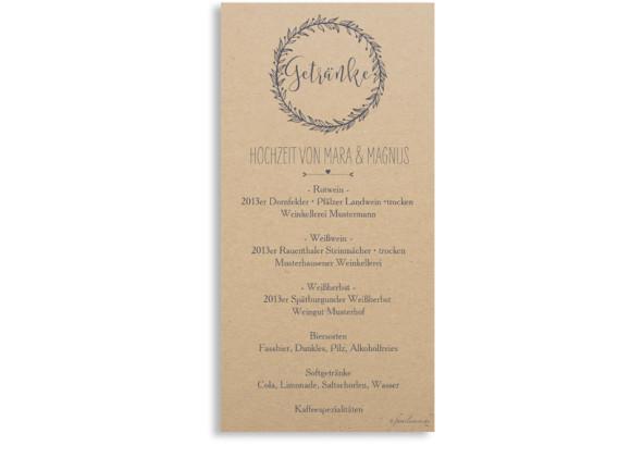 Speisekarten Hochzeit Nature