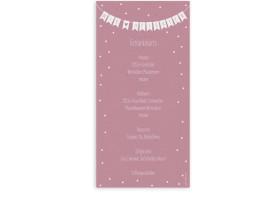 Menükarte zur Hochzeit Wimpelkette (Postkarte DL) Altrosa