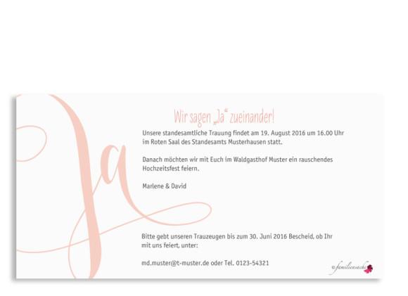 Hochzeitseinladung Cannes, Postkarte DIN Lang, Rückseite, Farbversion: apricot