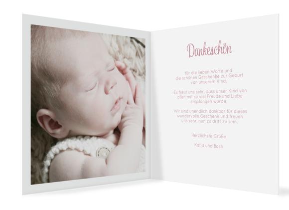 Danksagung zur Geburt (quadratische Klappkarte, 6 Fotos), Motiv: Laguna/Leandro, Innenansicht, Farbvariante: altrosa