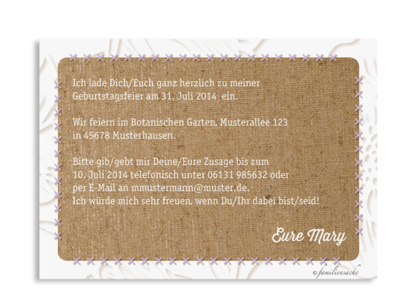 Einladungskarten Canvas, Rückseite der Farbversion: flieder