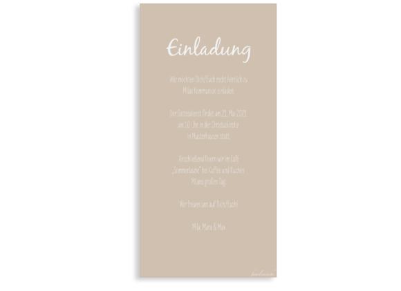 Kommunionseinladungen (Postkarte DL mit einem Foto), Motiv: Segen, Rückseite, Farbvariante: beige