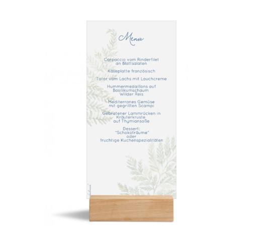 Speisekarte (Postkarte DL), Motiv: Farn, Rückseite, Farbvariante: blau