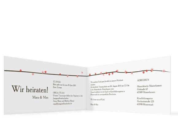 Innenansicht, Einladungs-Klappkarte zur Hochzeit (Format DIN Lang), Motiv Yokohama, Farbversion: koralle