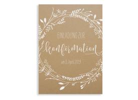 """Einladung zur Konfirmation """"Blumenkranz Natural"""" weiss"""