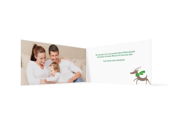 Weihnachtskarte Jahresrückblick, Innenansicht  der Farbversion: dunkelgrün