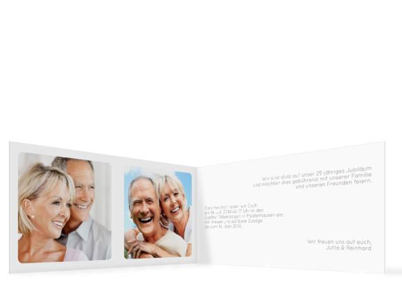 Einladungskarte zur Silberhochzeit, Motiv Kreta, Innenansicht, Farbversion: grau