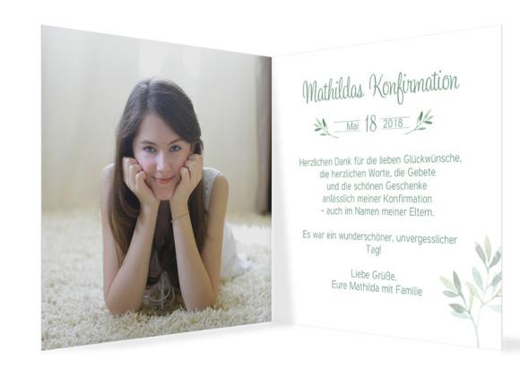 Danksagung zur Konfirmation, Motiv: Blätterkranz, Innenansicht, Farbvariante: Grün