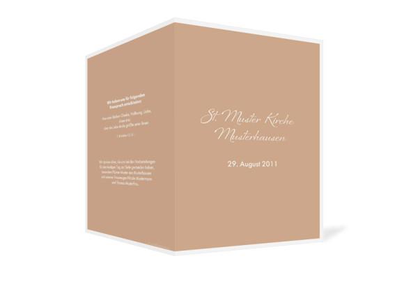 Außenansicht, Klappkarte zur Hochzeit (Kirchenheft), Motiv Verona, Farbversion: beige