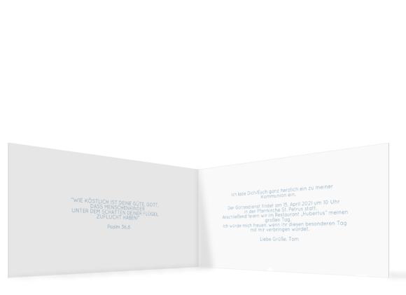 Kommunionseinladung (Klappkarte mit Fotos), Motiv: Ziel, Innenansicht, Farbvariante: blau-türkis